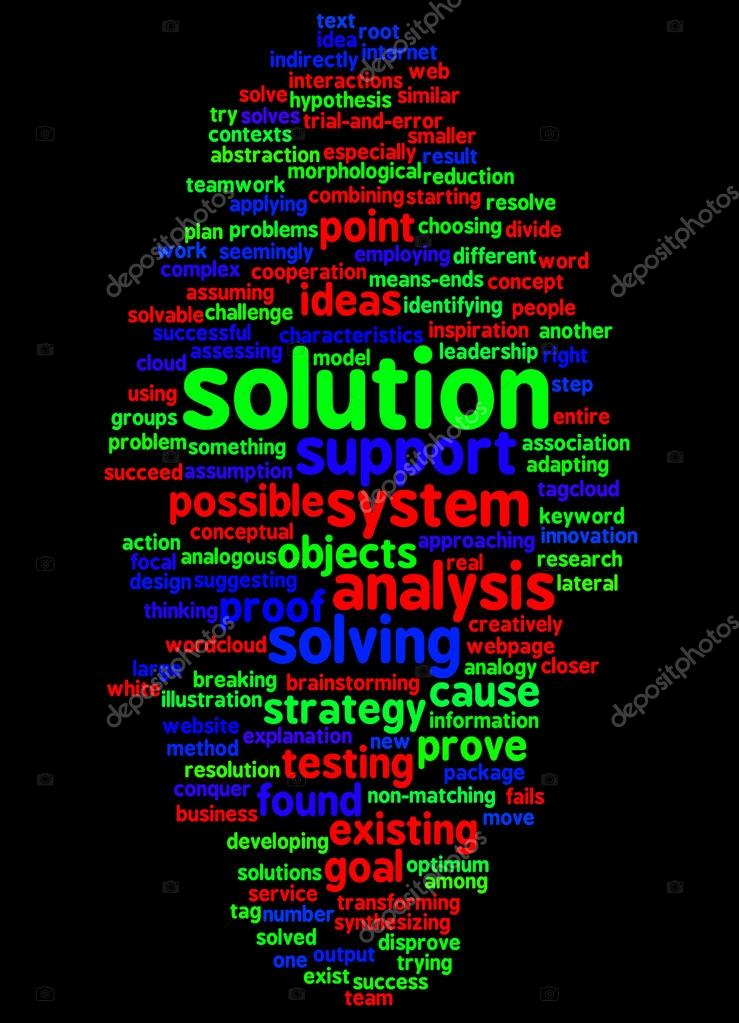 Word cloud of solution and its related words — Stock Photo