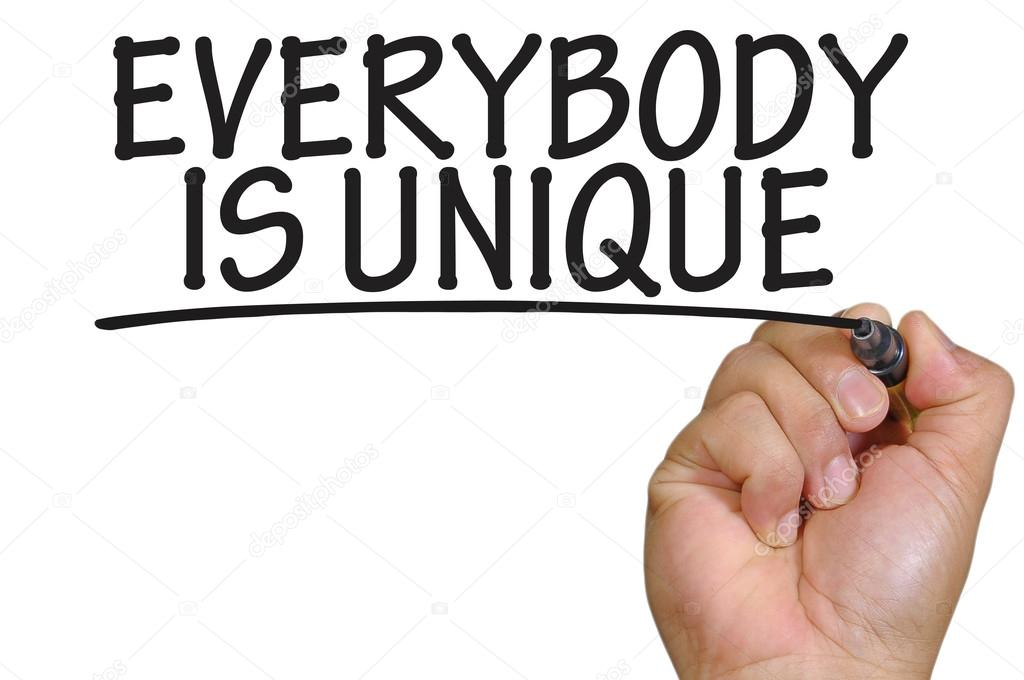 Hand Writing Everybody Is Unique Stock Photo Underverse