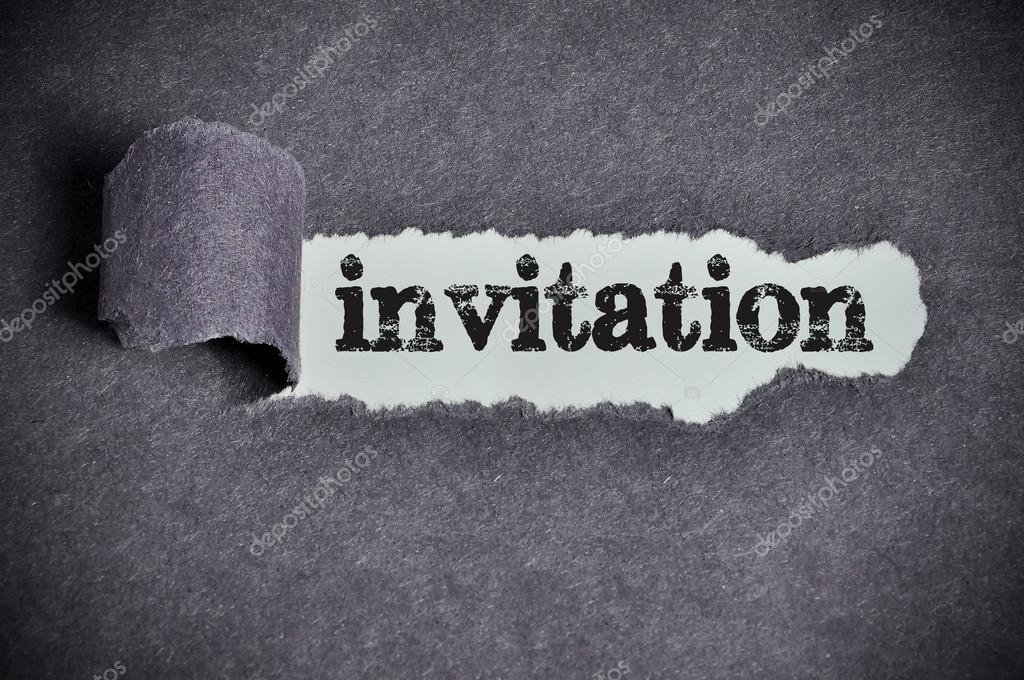 invitation word under torn black sugar paper stock photo