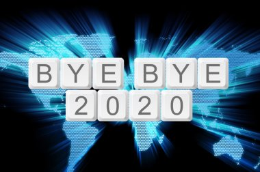 world glow background and keyboard button with word bye bye 2020