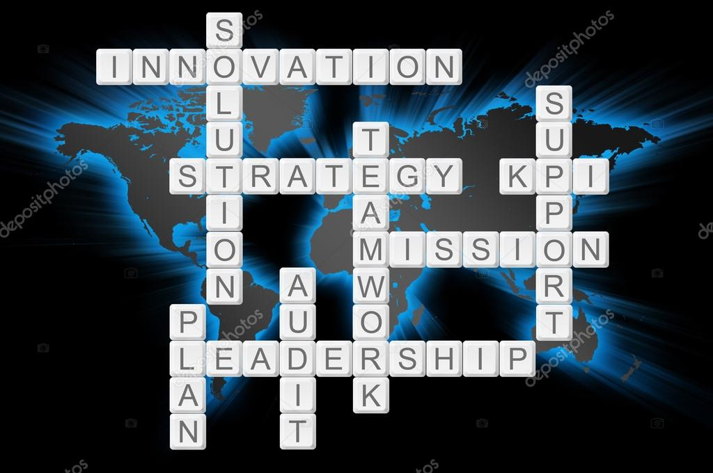 Crossword Of Leadership Teamwork Innovation Plan Audit Solution Strategy Mission Key Performance Indicator KPI And Support With Glowing World