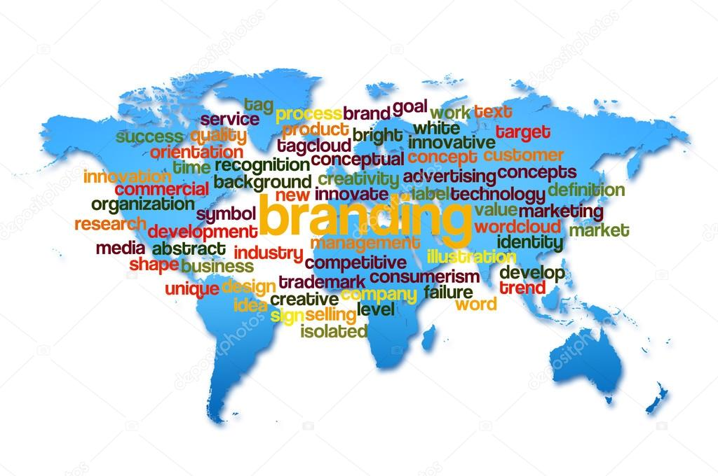 Word cloud of branding with world map background stock photo word cloud of branding with world map background stock photo gumiabroncs Image collections