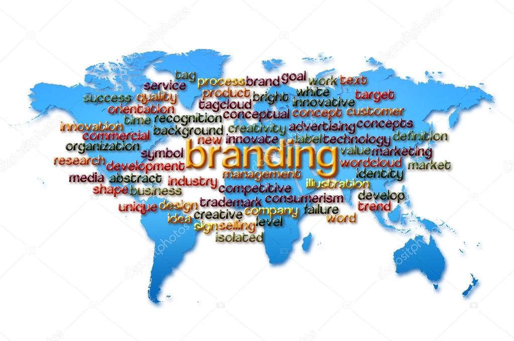 Word cloud of branding with world map background stock photo word cloud of branding with world map background stock photo gumiabroncs Images