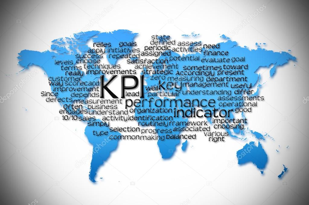 Word Cloud of kpi with world map background — Stock Photo ...