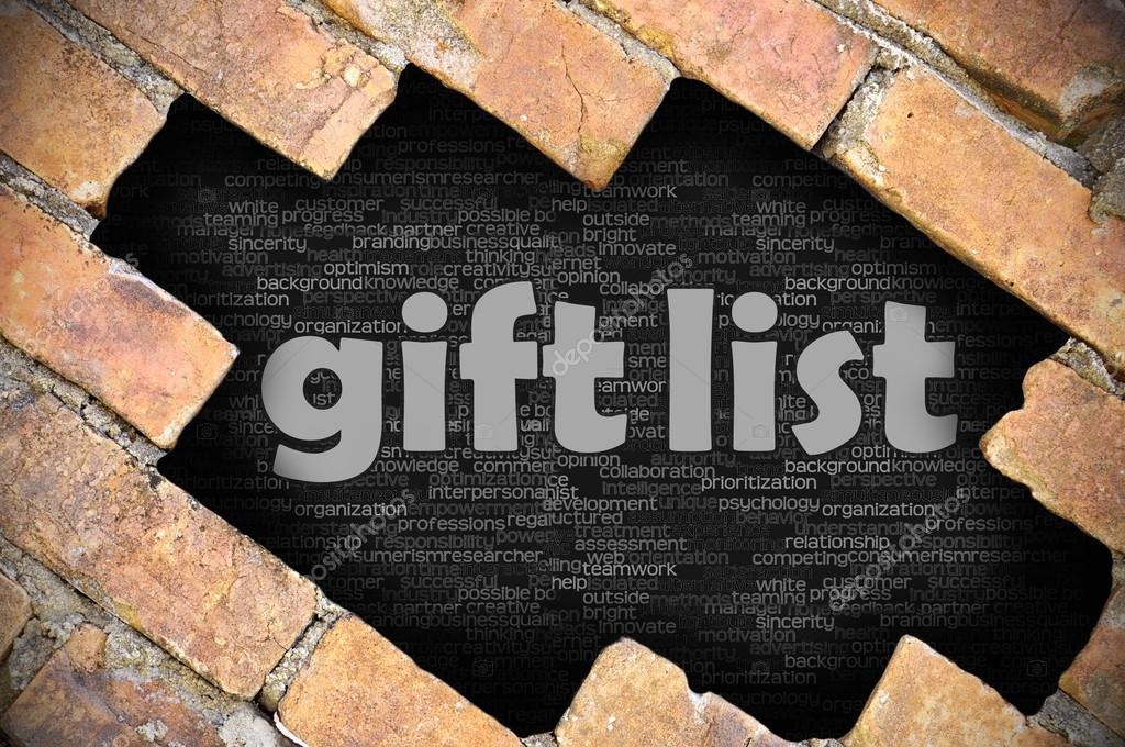 Loch in der Mauer mit Wortliste Geschenk — Stockfoto © under_verse ...