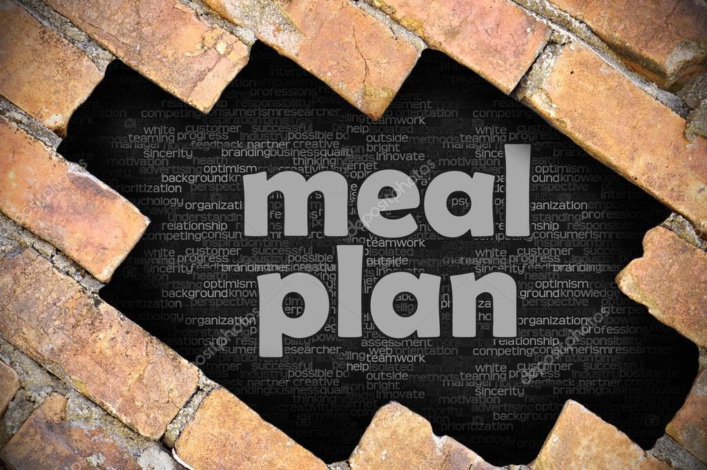 Agujero en la pared de ladrillo con plan de comidas de la - Agujero en la pared ...