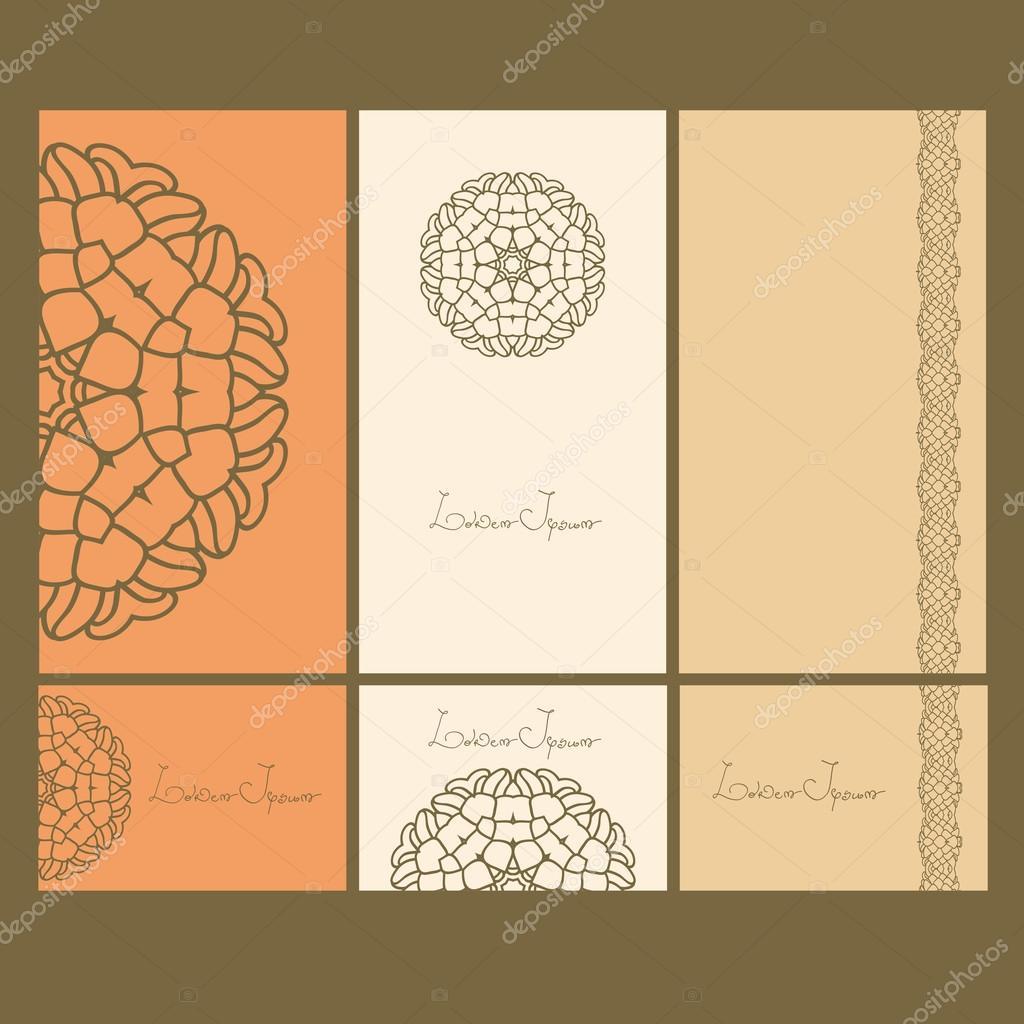 Set de tarjetas. Tarjeta o invitación. Tarjetas de diseño de ...