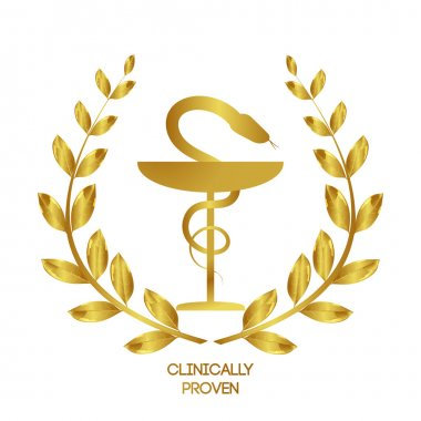Clinically proven. Pharmacy icon. Caduceus symbol. Bowl with a snake. Medicine symbol.  Laurel wreath