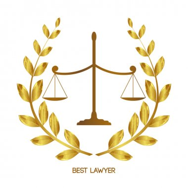 Best lawyer. Scales of Justice. Law firm. Legal services. Laurel wreath. Jurisprudence. Femina