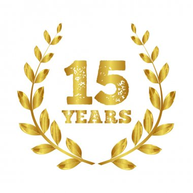 15 years. Anniversary.  Jubilee  15 years.   Laurel  . Stamp vector