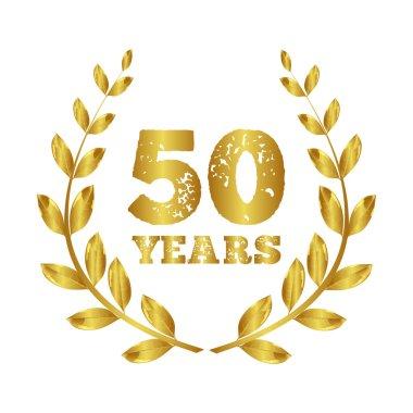 50 years. Anniversary 50 years .  Jubilee  . Gold laurel  . Stamp vector