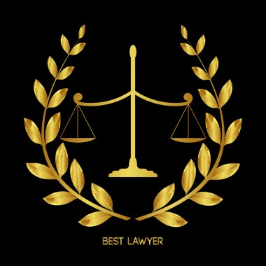 Best lawyer. Scales of Justice. Legal services emblem. Laurel wreath. Jurisprudence icon. Femina vector