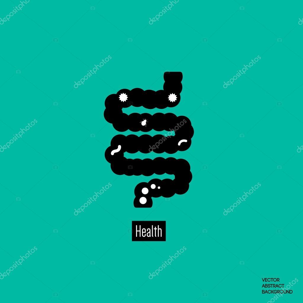 Icono del intestino. Parásitos intestinales. Intestinos humanos ...