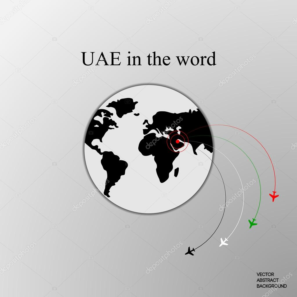 United arab emirates uae uae in the world uae on the map the uae in the world uae on the map the plane from the united arab emirates the flight of the aircraft flight around the earth arab airlines vector gumiabroncs Choice Image