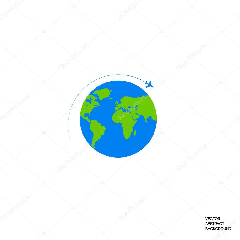 Lines silhouette airplane roundabout circulation flight around lines silhouette airplane roundabout circulation flight around the world earth map of the ground airplane and globe globe icon vector de gumiabroncs Choice Image
