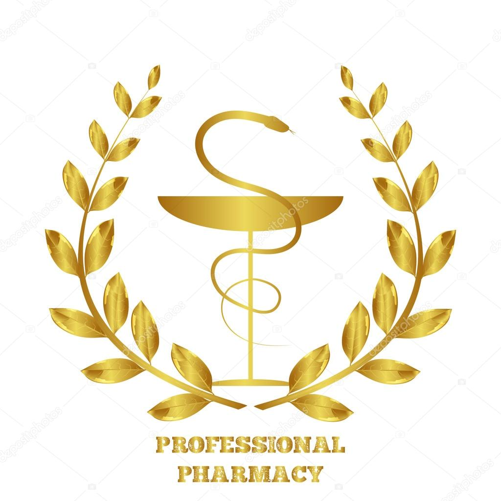 Pharmacy icon. Caduceus symbol. Bowl with a snake. Medicine symbol. Professional pharmacy. Laurel wreath