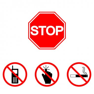 Prohibition signs, set vector illustration: touch, smoking, call, phone. Vector illustration of Stop. Can be used for institutions, public places