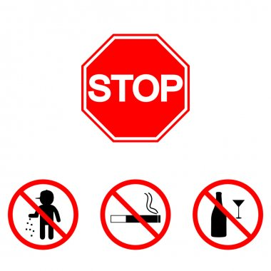 Prohibition signs, set vector illustration: alcohol, glass, smoke, litter, garbage. Vector illustration of Stop. Can be used for institutions, public places