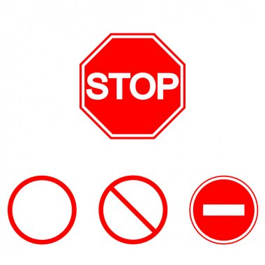 Prohibition signs, set vector illustration. Vector illustration of Stop. Can be used for institutions, public places