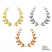 Photo A set of three with a laurel wreath: first, second, third. Gold, silver, bronze