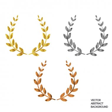 A set of three with a laurel wreath: first, second, third. Gold, silver, bronze