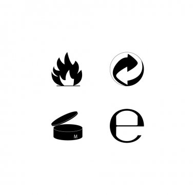 Logo recycle. Collective package. Handle with care. Flammable. About. packing. Vector illustrations. clip art vector