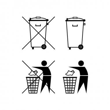 Trash can. Waste recycling. Do not litter. Municipal waste. Bin silhouette. Do not litter