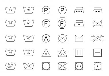 Laundry  Icons. Washing Icons. Care of clothes. Terms washing.
