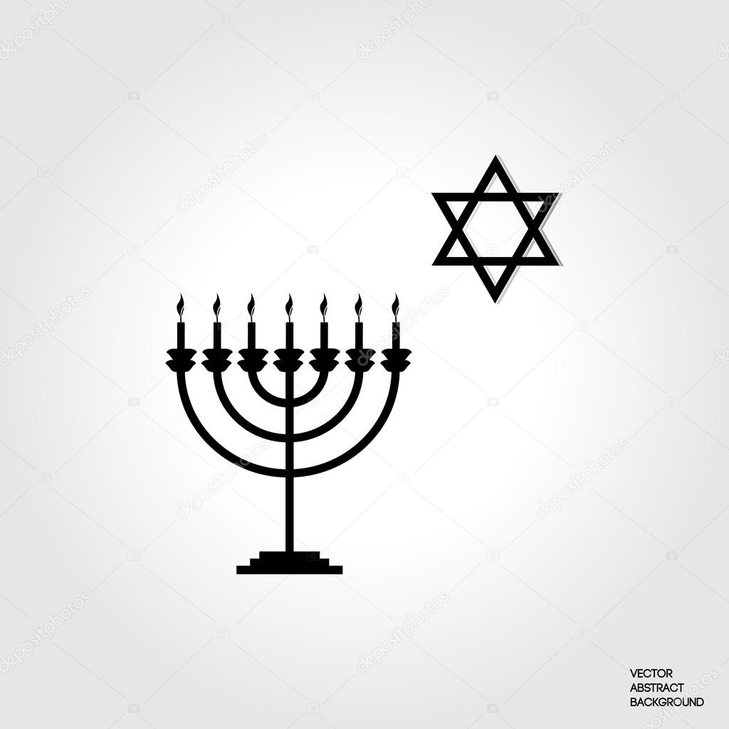The Symbol Of Judaism Menorah Silhouette Candlestick Seven Candles