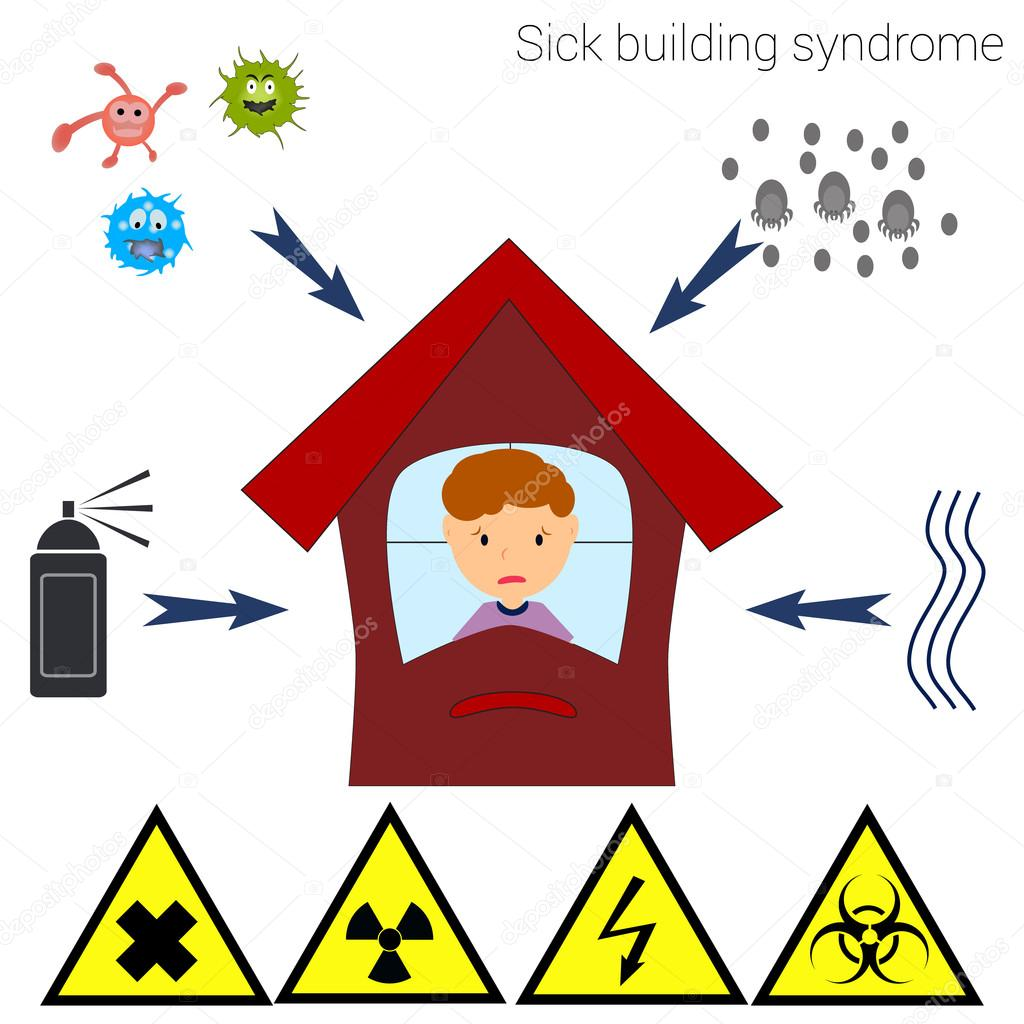 Sick building syndrome (SBS). Infographics, vector illustration.