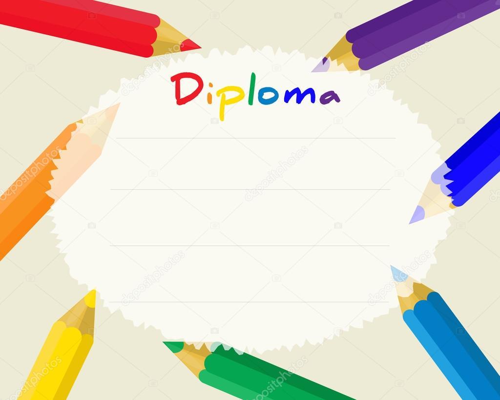 Preescolar primaria. Fondo certificado de Diploma a los niños ...