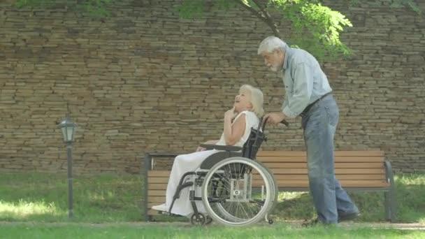 Pohled na rozesmátý starší pár ve slunném letním parku, jak mluví a gestikuluje. Široký záběr starého bělocha na kolečkovém křesle s usměvavou šťastnou invalidní ženou. Věčná láska a koncepce podpory.