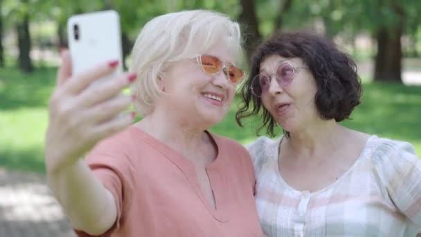 Detailní záběr bezstarostných bělošských důchodců ve slunečních brýlích při selfie v slunečném letním parku. Portrét veselé uvolněné ženy, usmívající se a fotografující venku. Šťastný odchod do důchodu.