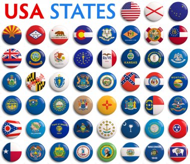 USA States Flags