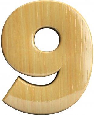 Wooden number 9 - Nine