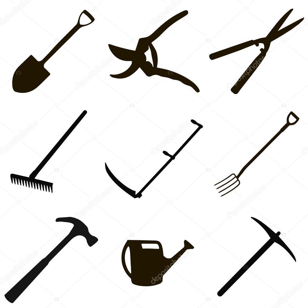 Jeu d\'outils de jardinage — Image vectorielle koksikoks ...