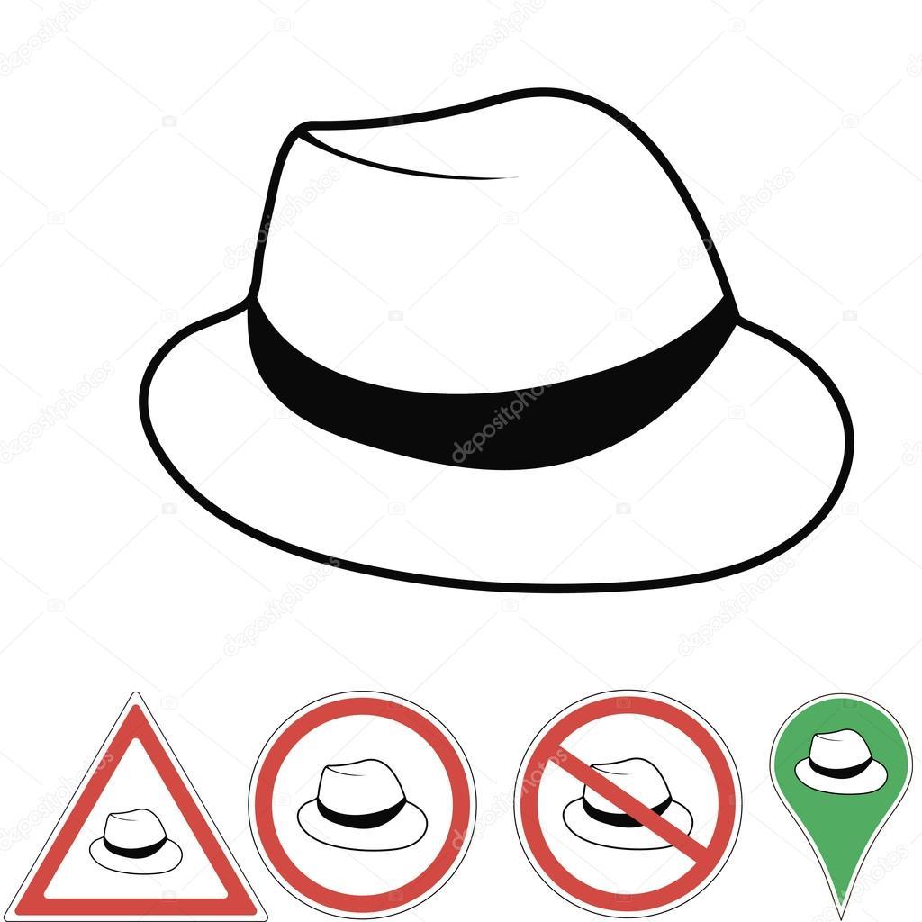 Vector illustration club hat Vintage man\'s fedora hat label isolated ...