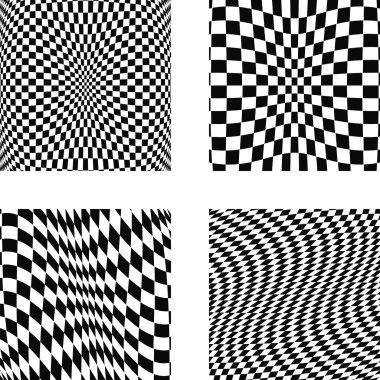 Set volumetric illusions with square mesh 3D geometric latticed textures. Design elements set. Vector art. clip art vector