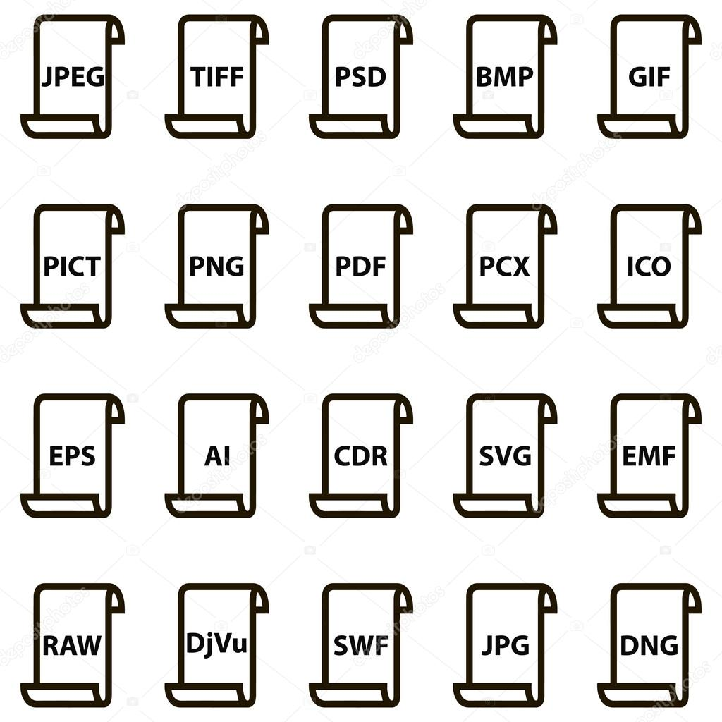 set icons of document file formats stock vector koksikoks 119035640