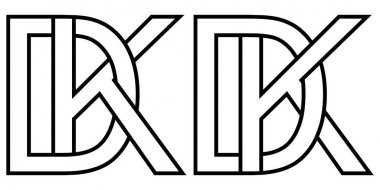 Logo dk kd icon sign two interlaced letters D k, vector logo dk kd first capital letters pattern alphabet d k icon