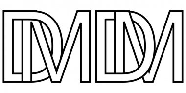 Logo md and dm icon sign two interlaced letters m D, vector logo md dm first capital letters pattern alphabet m d icon