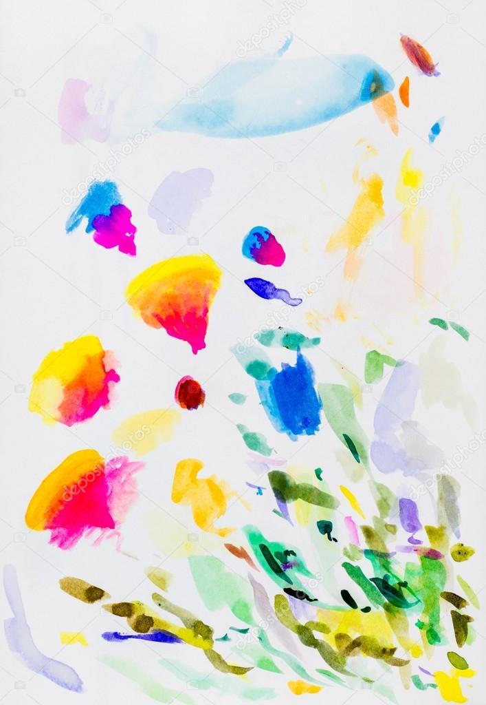 Pinceladas de tinta color sobre papel — Fotos de Stock © Caymia ...