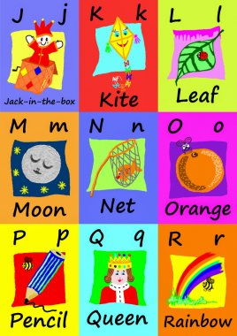 Alphabet flash cards J-R. Naive illustrations.