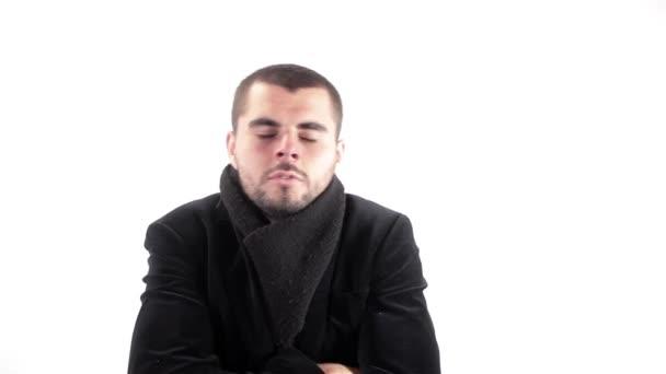 Sick Man Sneezing Healthcare Concept