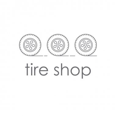 Shop tires. Logo or company logo or store tires. Three car wheels rolling. Tyres with wheels in the style of the line.