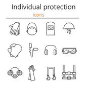 Sada ikon, osobních ochranných prostředků ve stavebnictví. Ochranné prostředky pro oči, hlavu, uši, ruce, plíce a tělo. Ochrana těla a zdraví. Vektorový illustrat