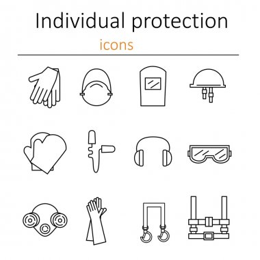 Set of icons of personal protective equipment in construction. Protective equipment for eyes, head, ears, hands, lungs and the body. Body protection and health. Vector illustrat