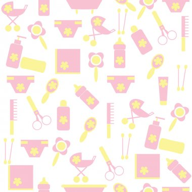 Seamless pattern of children with the means to care for the child.
