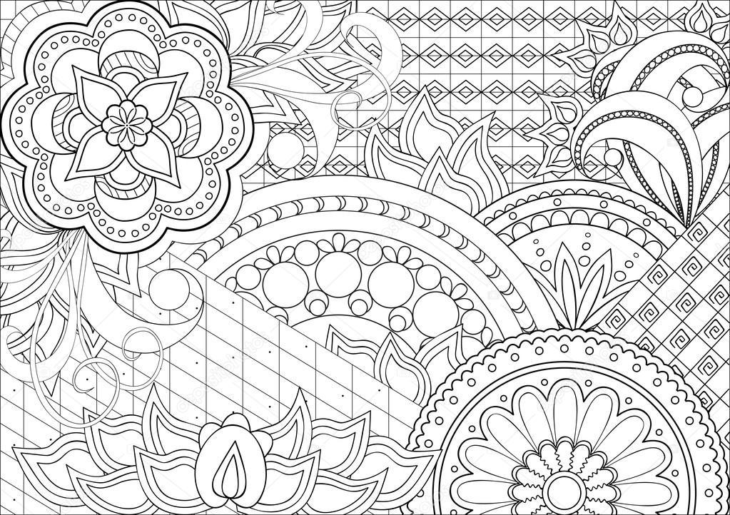 Doodle flores y mandalas — Vector de stock © sliplee #100266220