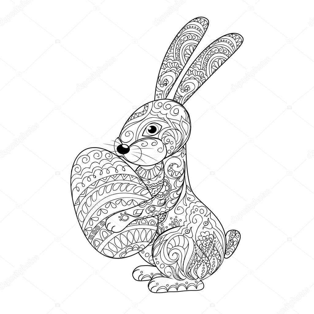 conejo de dibujos animados con huevo — Vector de stock © sliplee ...